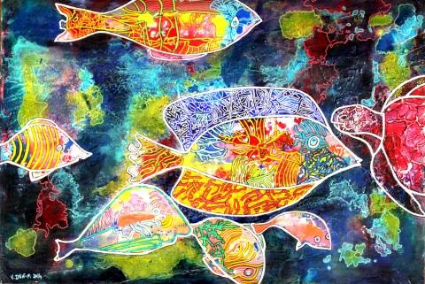 Les poissons du lagon 59X40 CP