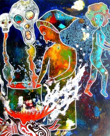 La  Sorcière et les esprits malins  61 X 49 CP
