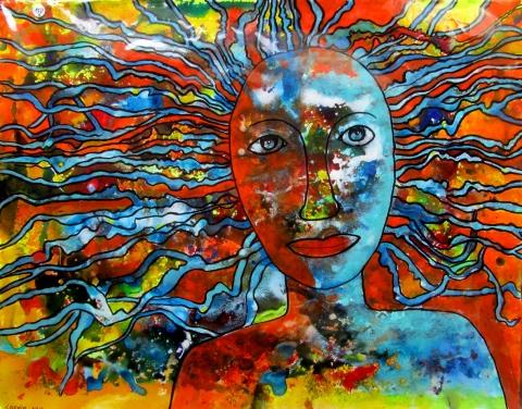 La femme-soleil, 65 X 50, Papier 300G